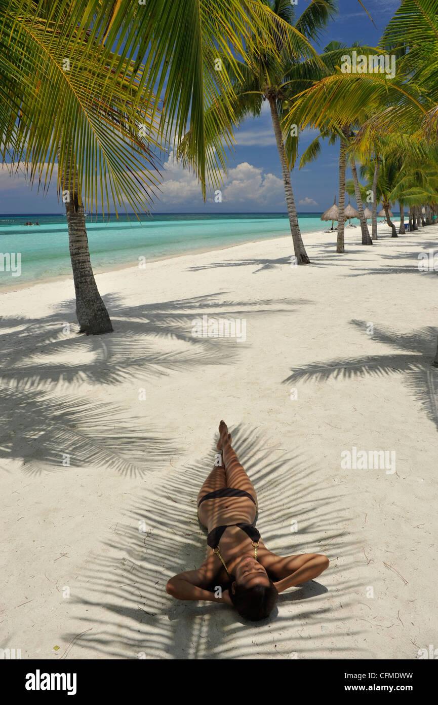 Beach scene, Panglao, Bohol, Philippines, Southeast Asia, Asia - Stock Image