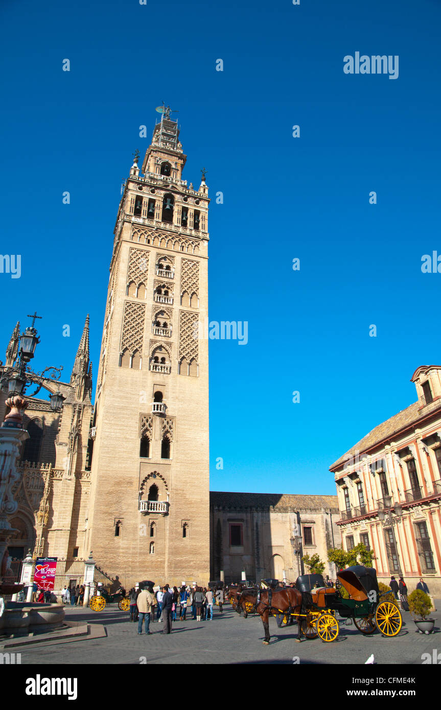 La Giralda tower and Plaza Virgen de los Reyes square central Seville Andalusia Spain - Stock Image