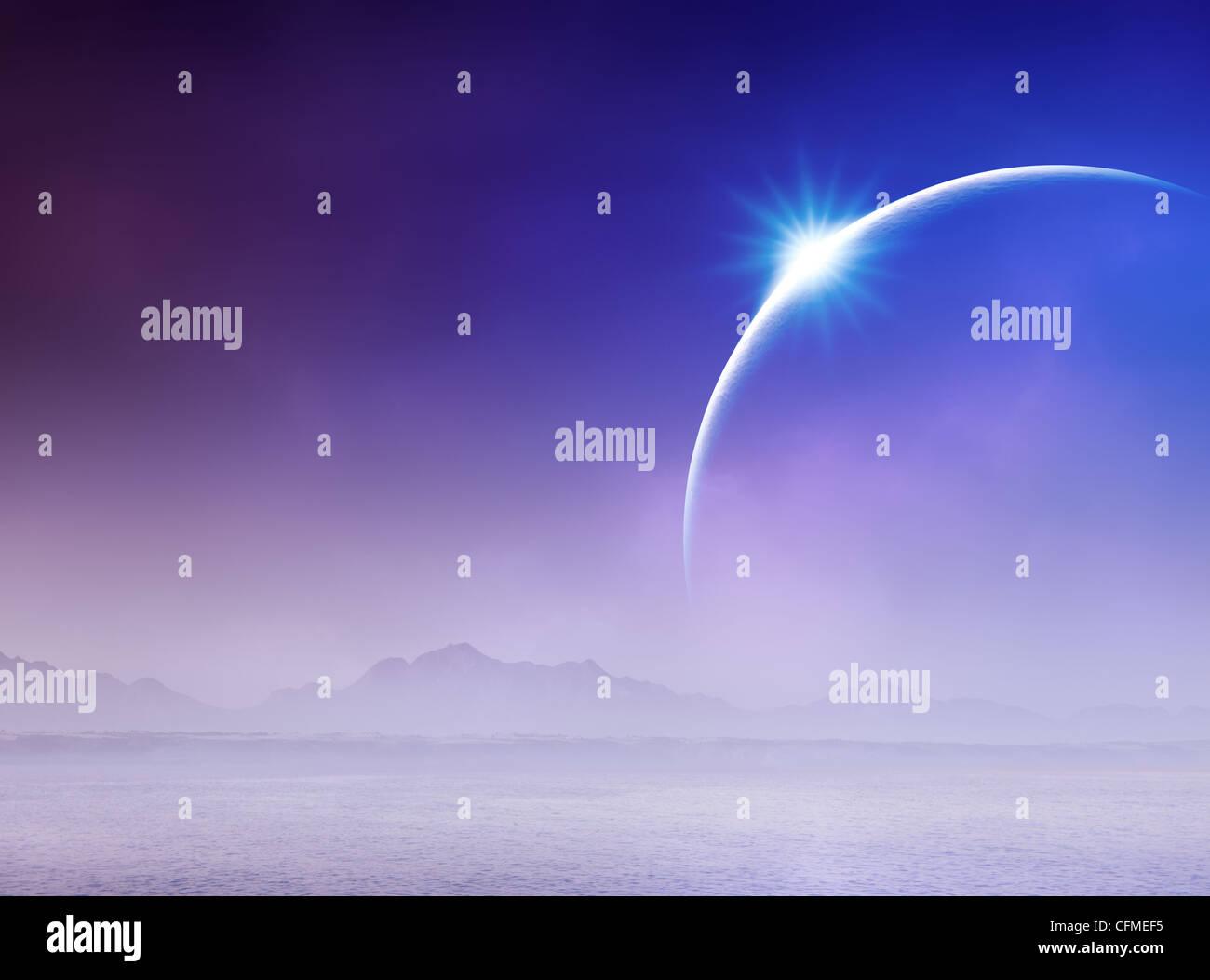 Surreal Solar Eclipse over misty seascape (Digital art) - Stock Image