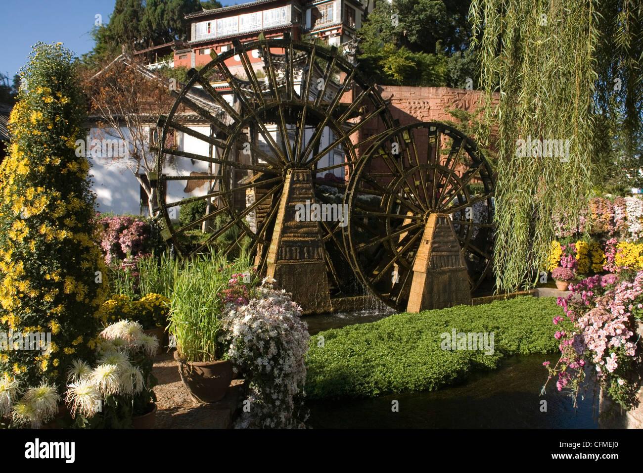 Waterwheel in Main square, Lijiang, Yunnan, China, Asia Stock Photo