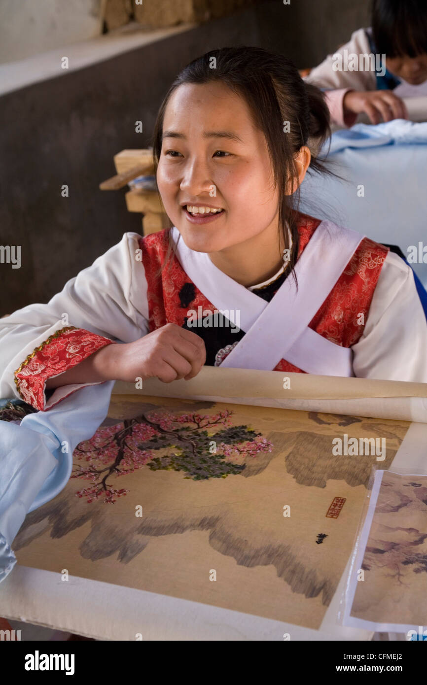 Embroidery school, Baisha, Lijiang, Yunnan, China, Asia Stock Photo