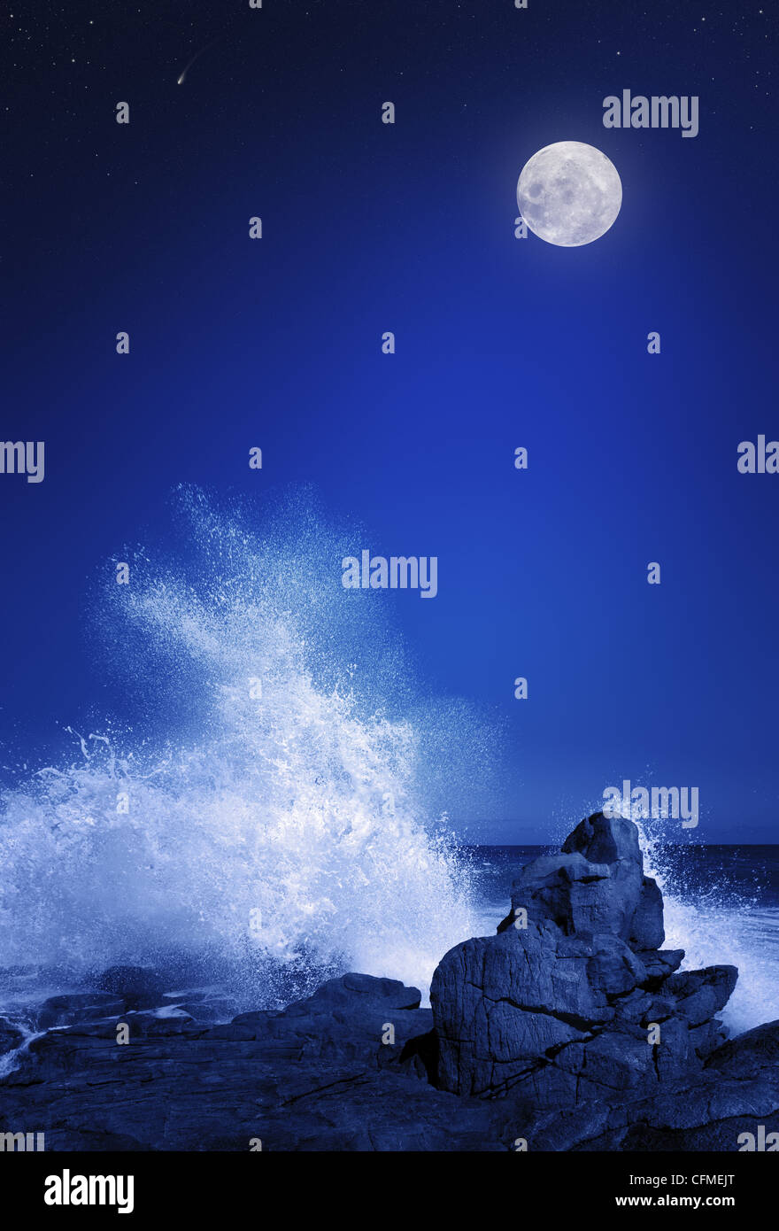 Rising moon over Rocky coastline (Elements of this image furnished by NASA: moonmap http://visibleearth.nasa.gov) - Stock Image