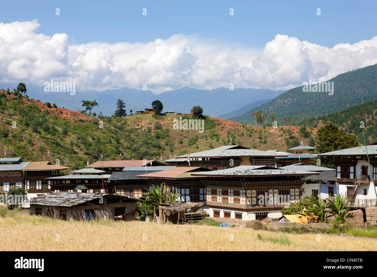 Tiny settlement of Pana in the Punakha Valley near Chimi, Lhakhang Temple, Punakha, Bhutan, Himalayas, Asia - Stock Image