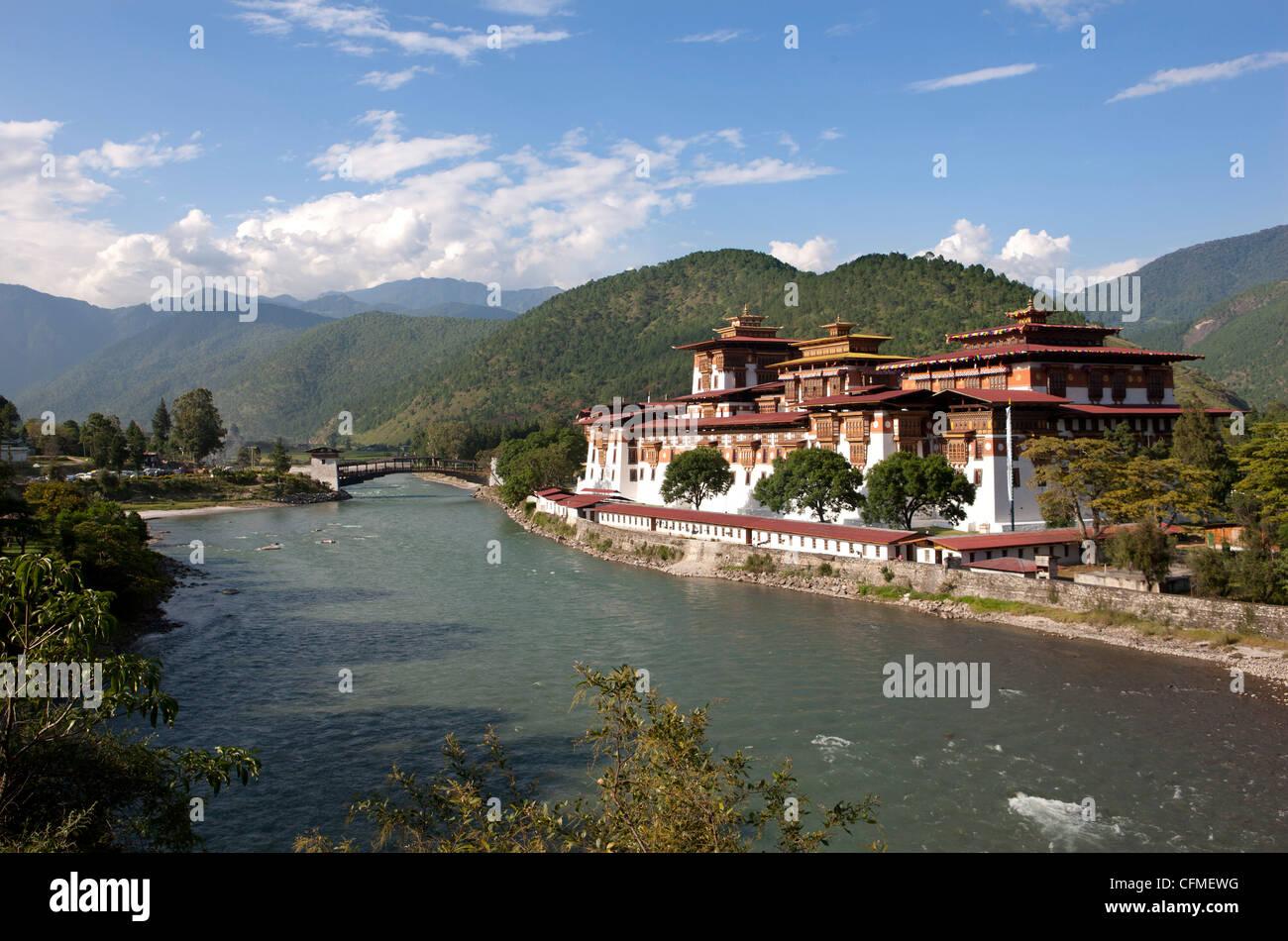 Punakha Dzong, Punakha Valley, Bhutan, Asia - Stock Image