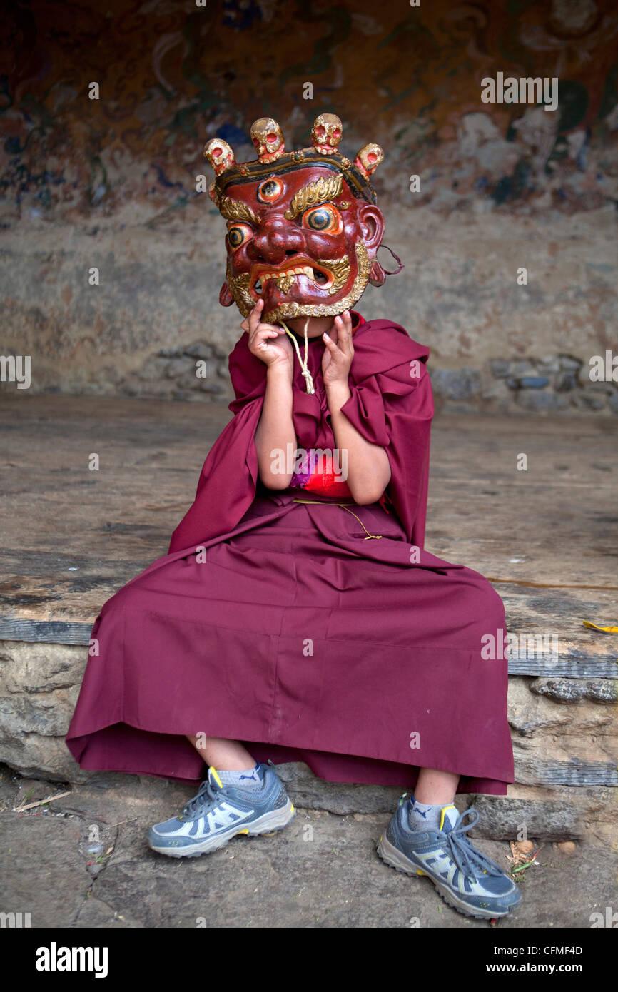 Young Buddhist monk, Jakar, Bumthang, Bhutan, Asia - Stock Image