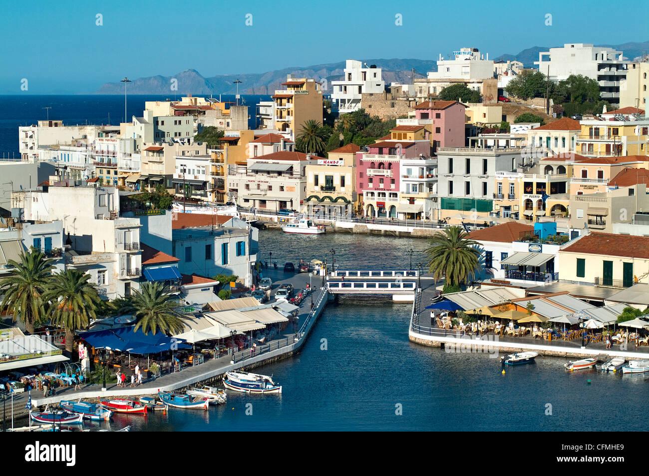 Agios Nikolaos Harbour Crete Greece - Stock Image
