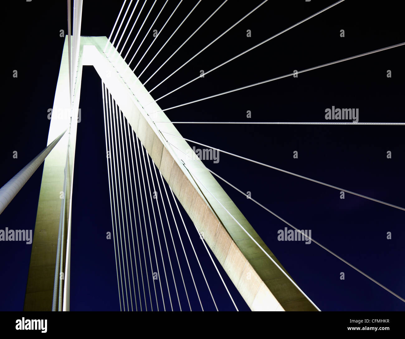 USA, South Carolina, Charleston, Detail of Arthur Ravenel Jr. Bridge - Stock Image