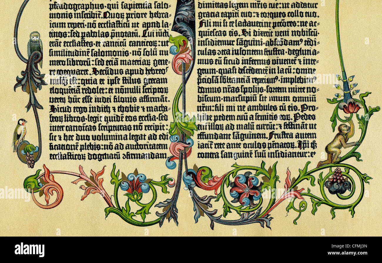 This illustrated page is from the Gutenberg Bible, also known as the 42-Line Bible, was produced around 1453-1456. - Stock Image