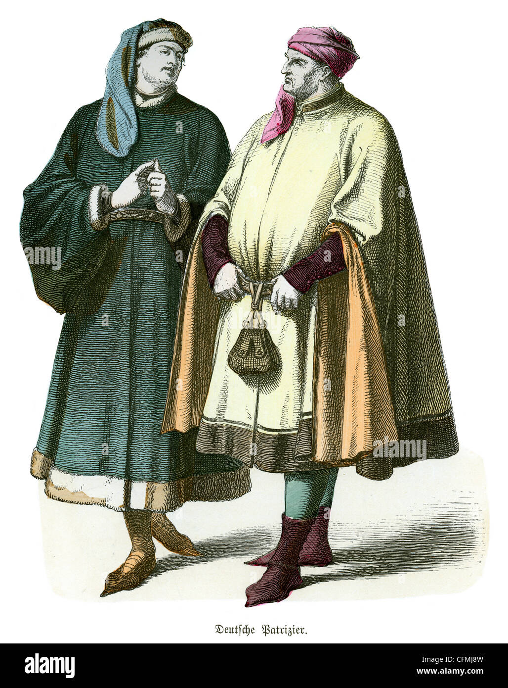 A couple of men in the dress of a 14th century German patricians - Stock Image