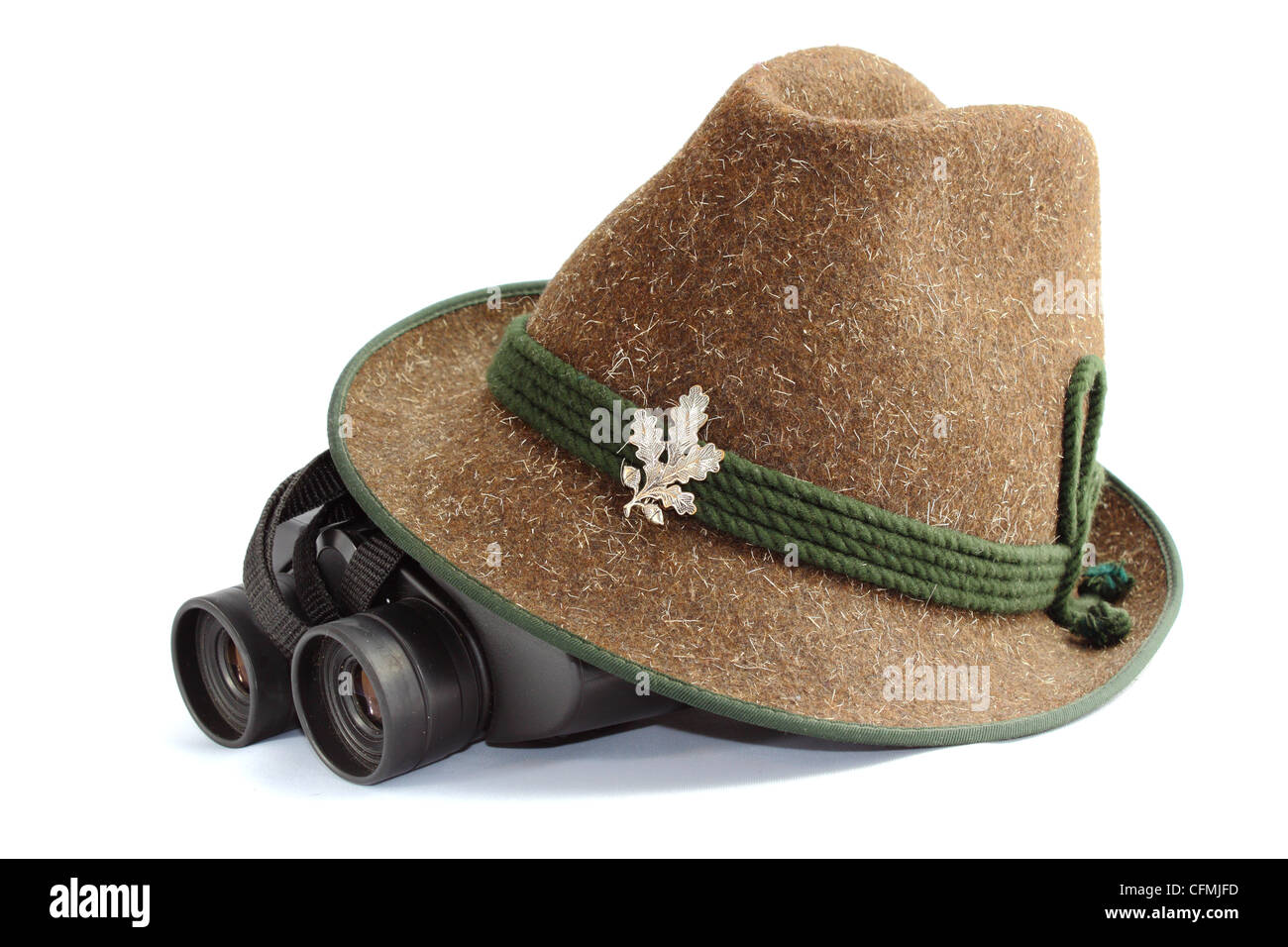 hunting gear - old hunting hat and binoculars - Stock Image