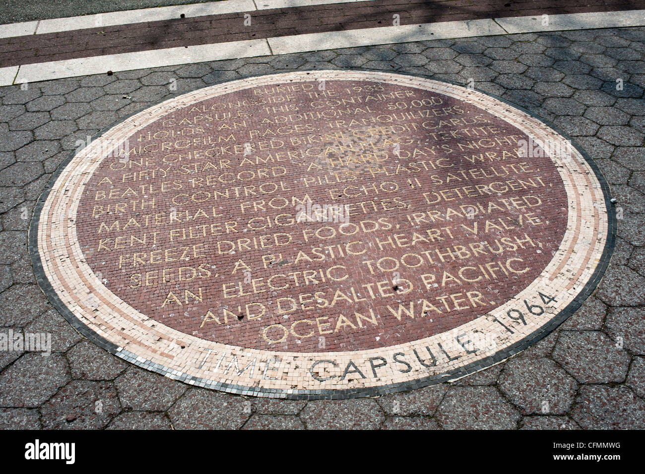 A mosaic in Flushing Meadows park in Queens in New York commemorates the World's Fair time capsule Stock Photo
