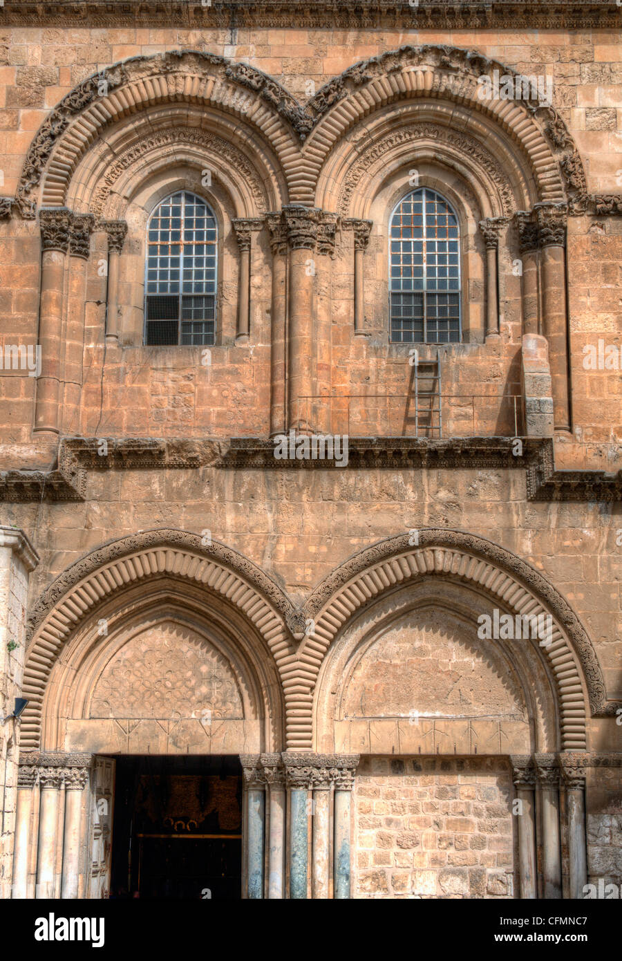 Historic facade of the Church of the Holy Sepulchre in Jerusalem, Israel - Stock Image