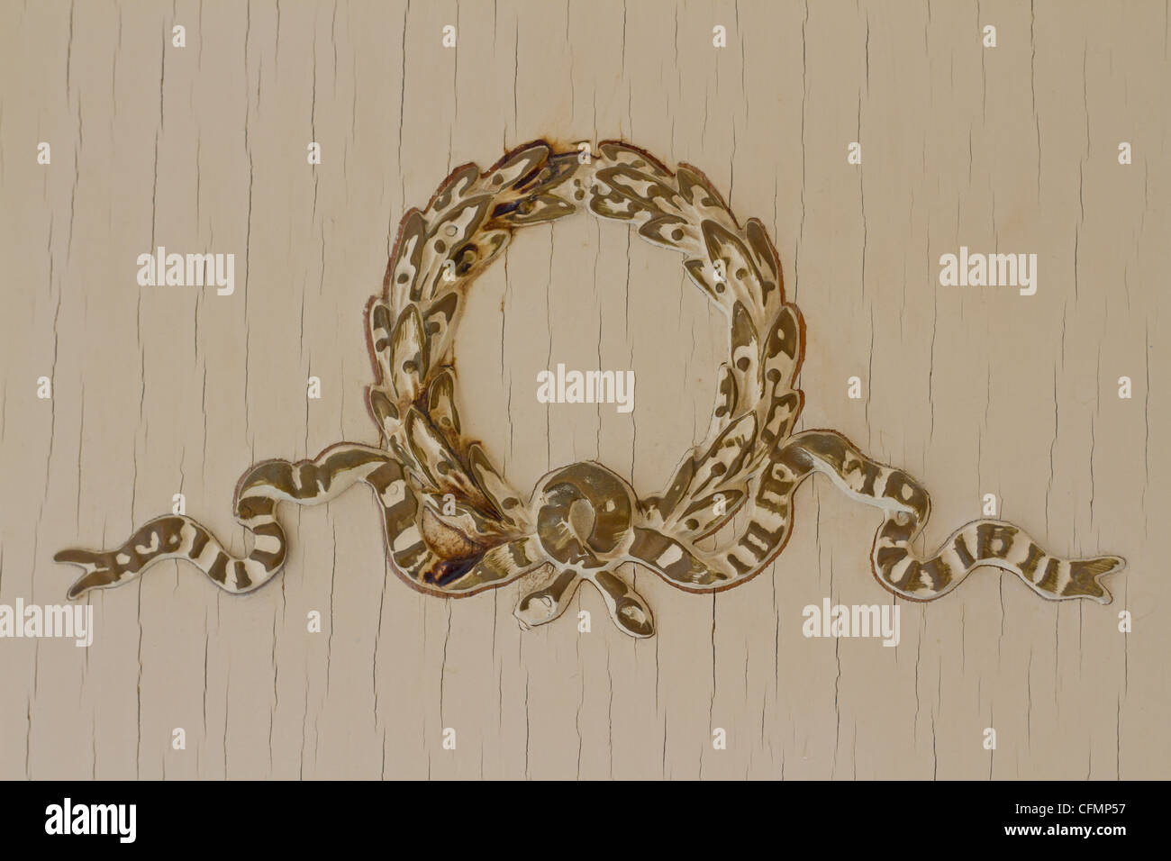 Detail of a Floral motif on antique furniture. - Stock Image