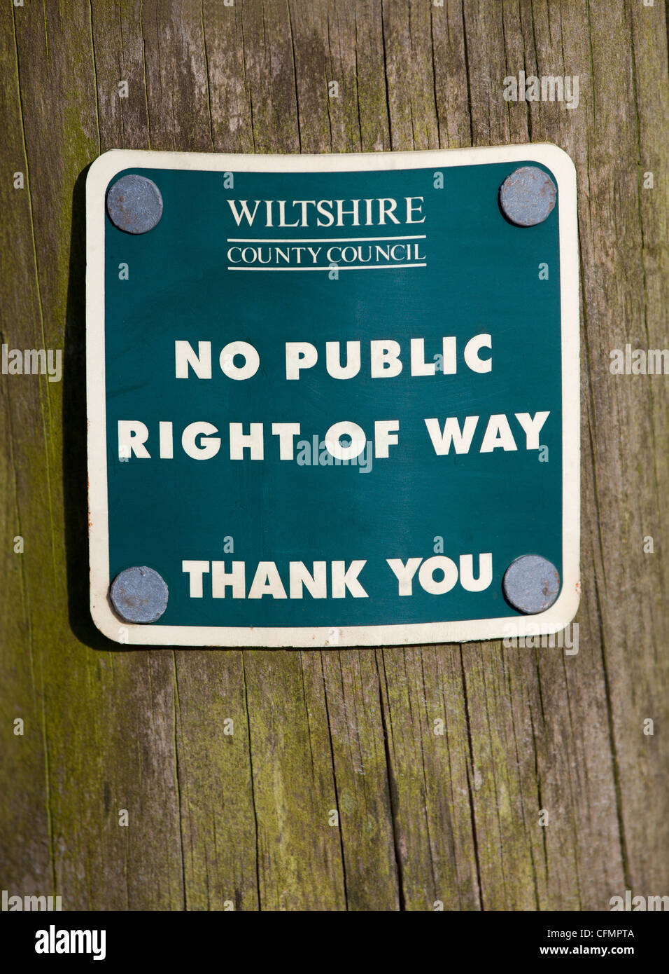 No Public Right of Way Sign - Stock Image