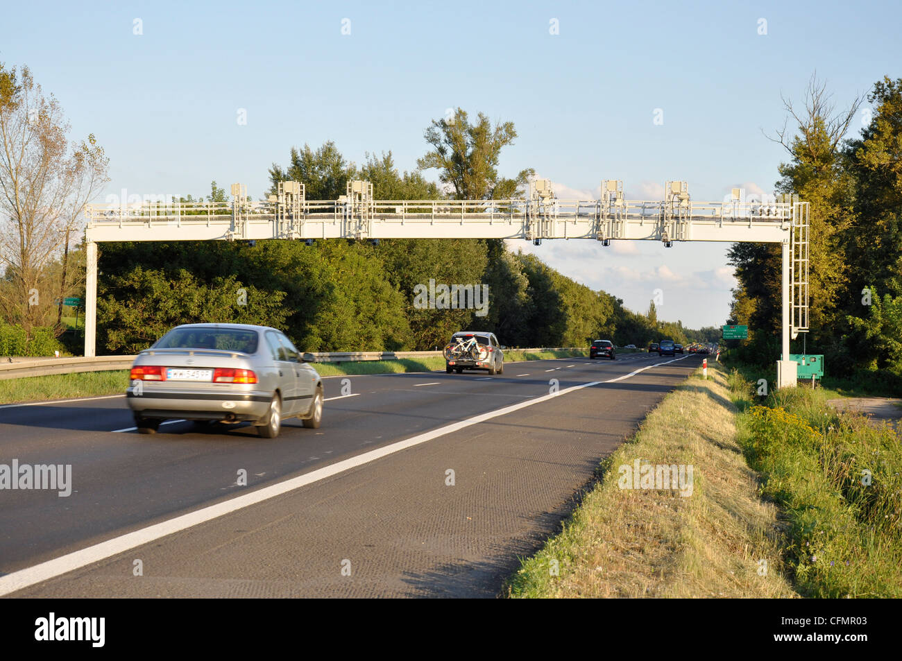 Average speed control gate with cameras made for speed limit on highway Stock Photo