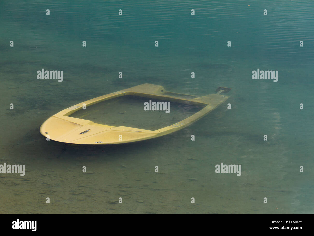 Sunk boat in the river - Stock Image