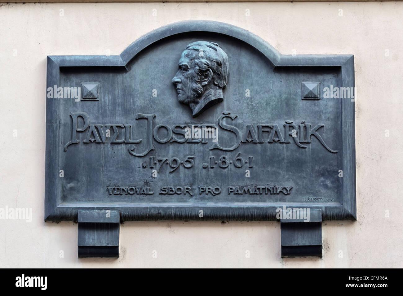 Former residence of Pavol Jozef Šafárik in Prague, Czech Republic - Stock Image