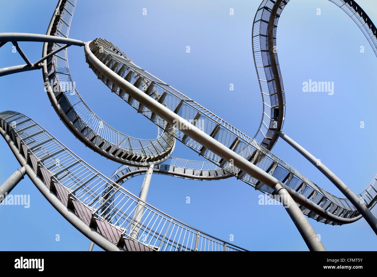 fisheye view of Tiger & Turtle, pedestrian rollercoaster, Duisburg-Wanheim, Germany Stock Photo