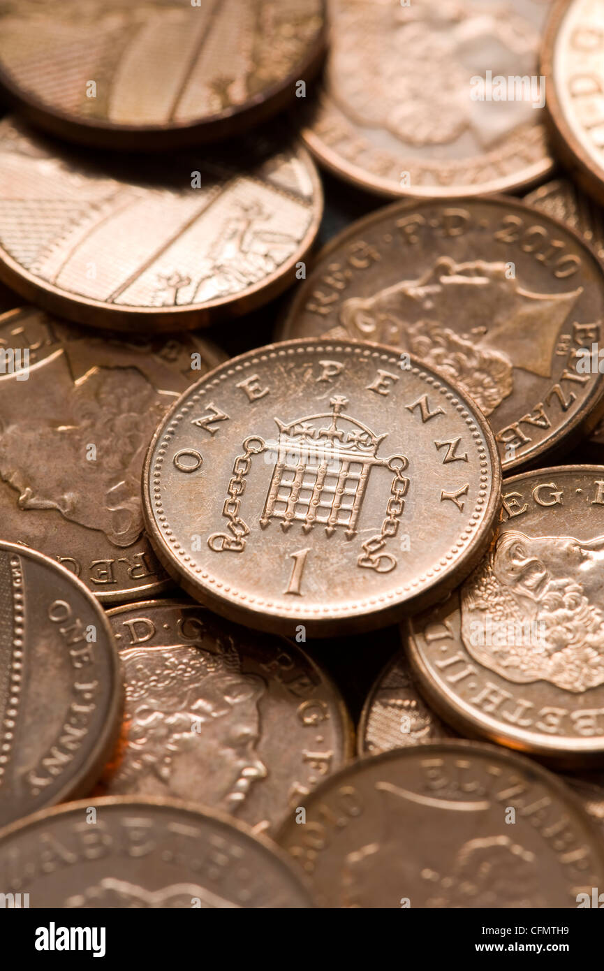 full frame image of british sterling pennies - Stock Image