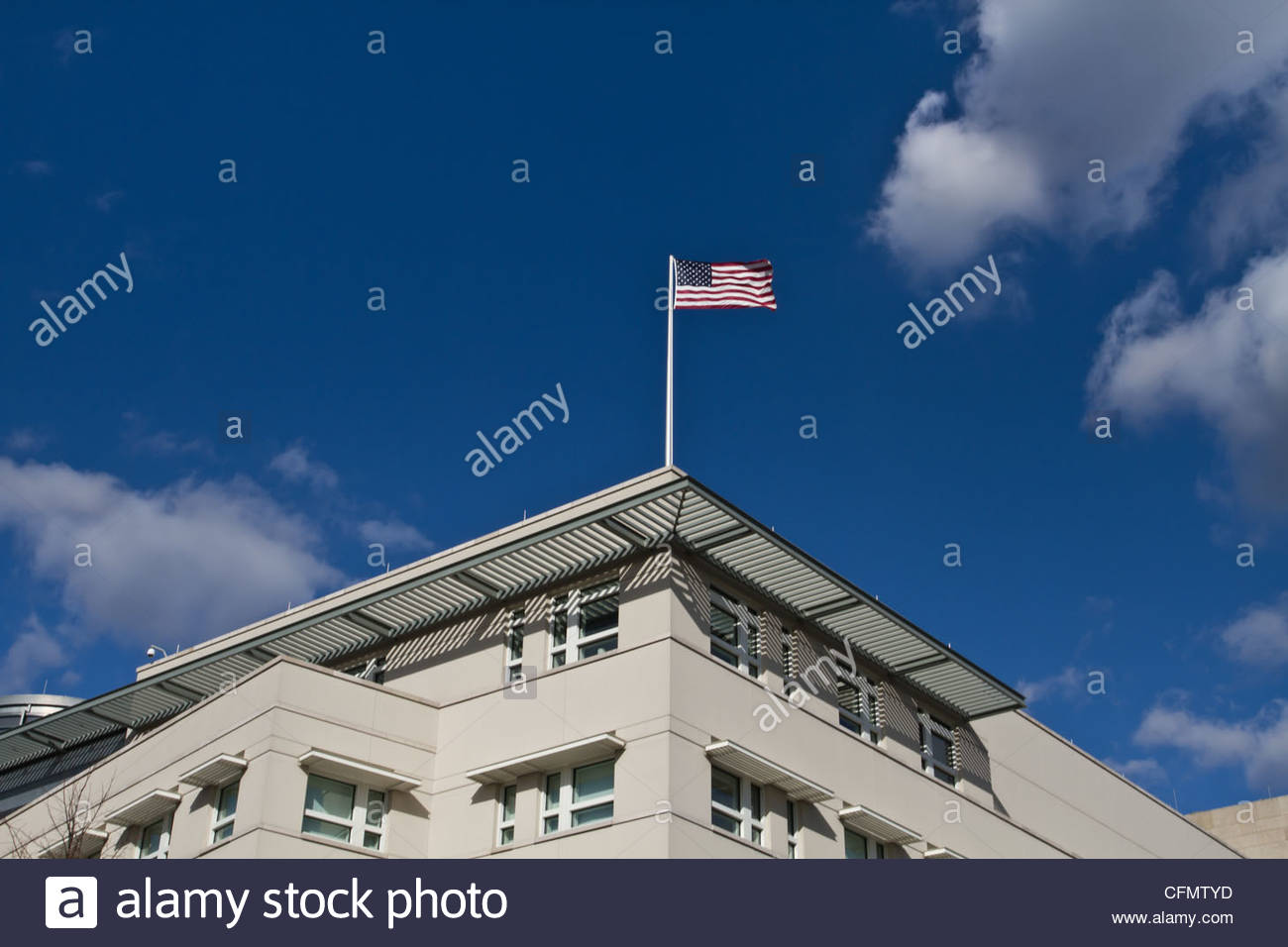 American Flag at the Embassy in Berlin - Stock Image