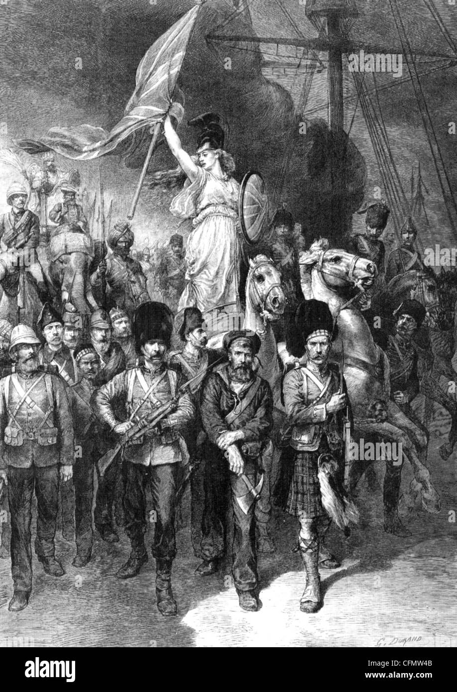 BRITANNIA  AND HER BOYS  Patriotic illustration from the Illustrated London News, 1885 - Stock Image