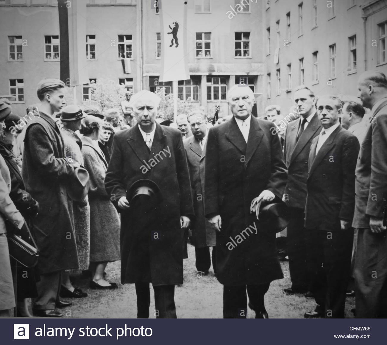 Theodor Heuss and Kondrad Adenauer, former President and Chancellor of Germany - Stock Image