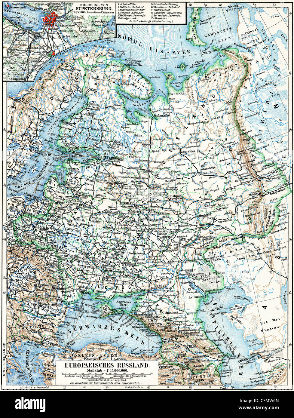 Map of the European part of Russian Empire Stock Photo: 44099405 - Alamy