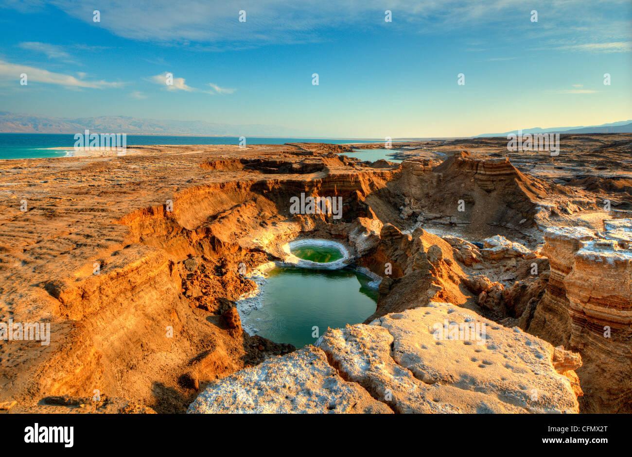 Sink holes near the Dead Sea in Ein Gedi, Israel. - Stock Image