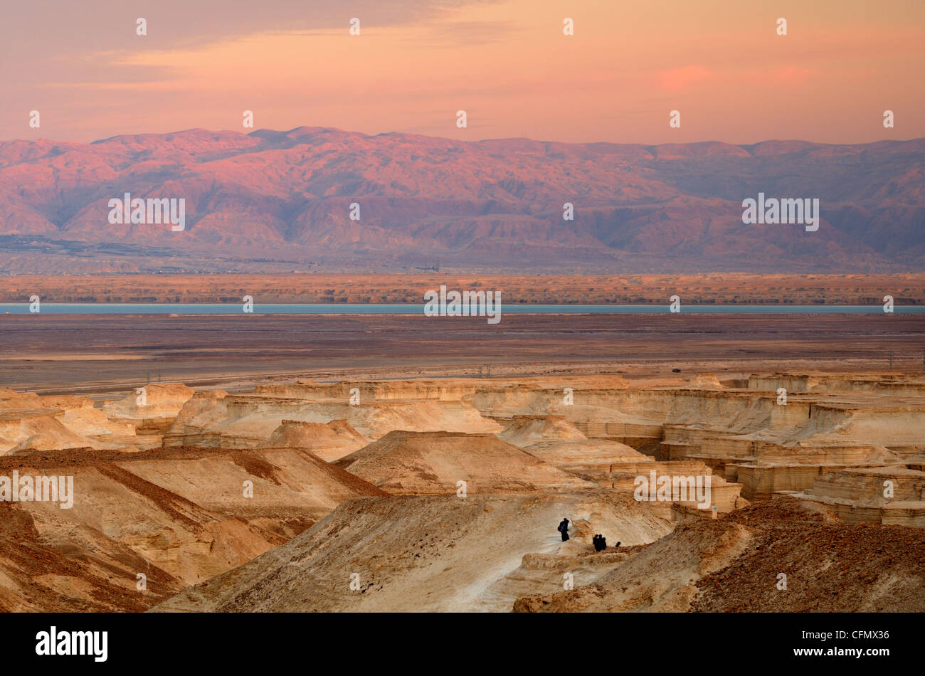 Landscape of the Judaean Desert near the Dead Sea in Israel Stock Photo