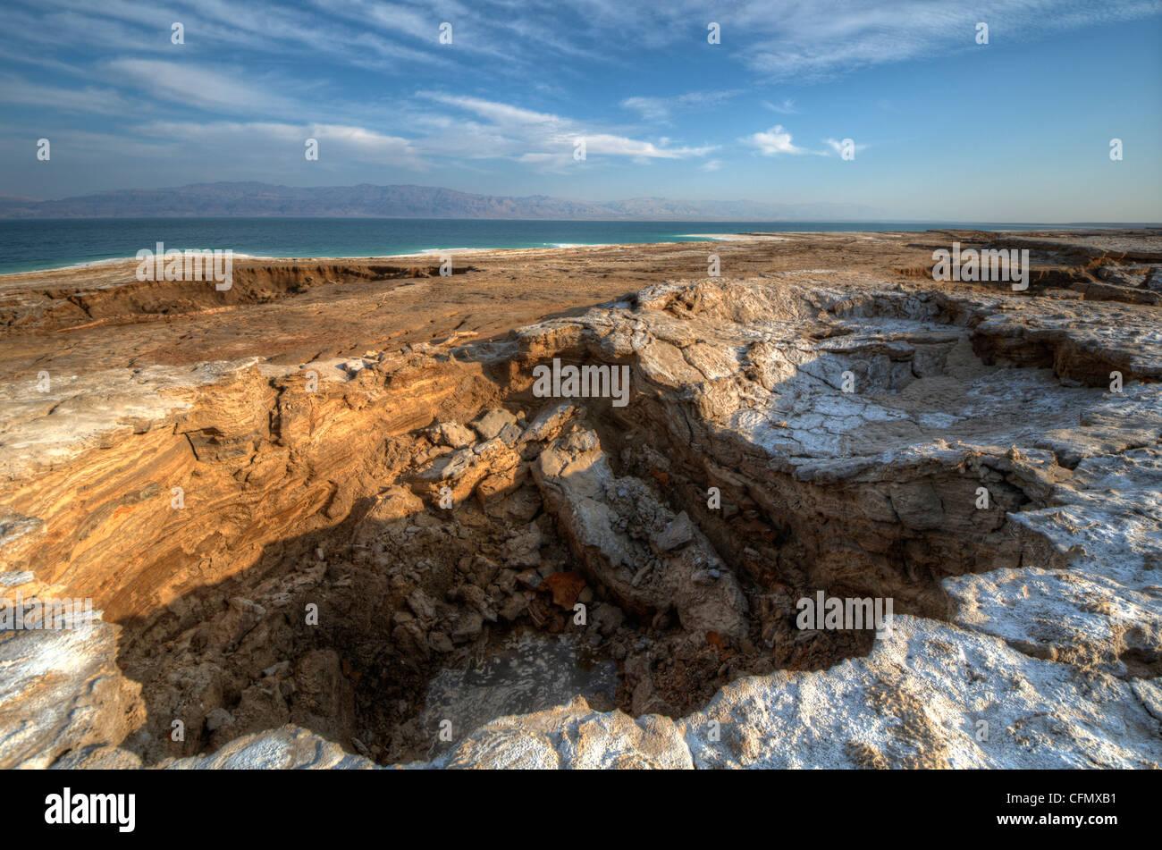 Sink holes near the Dead Sea in Ein Gedi, Israel. Stock Photo