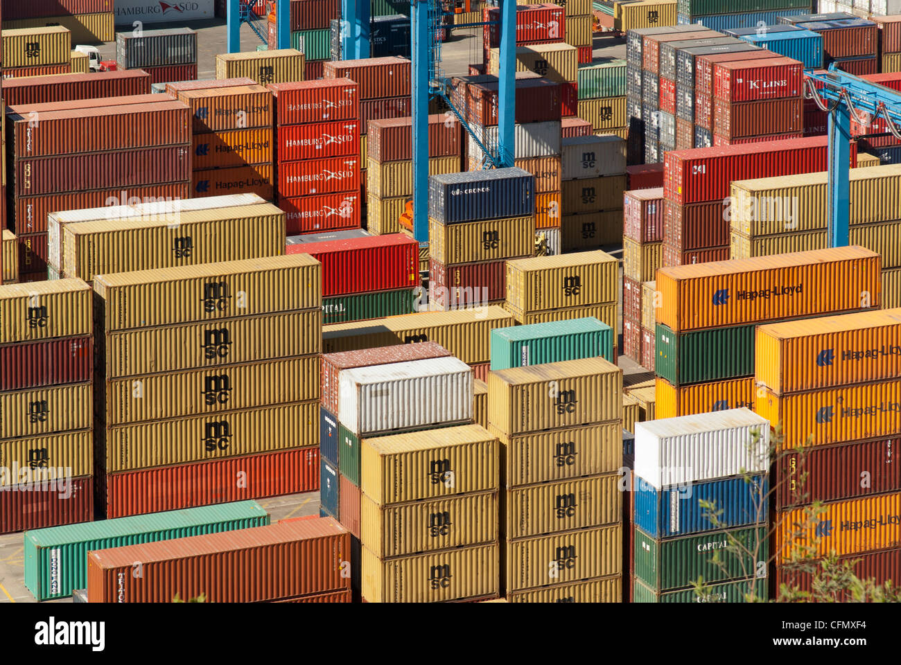 Shipping containers in Valparaíso, Chile - Stock Image