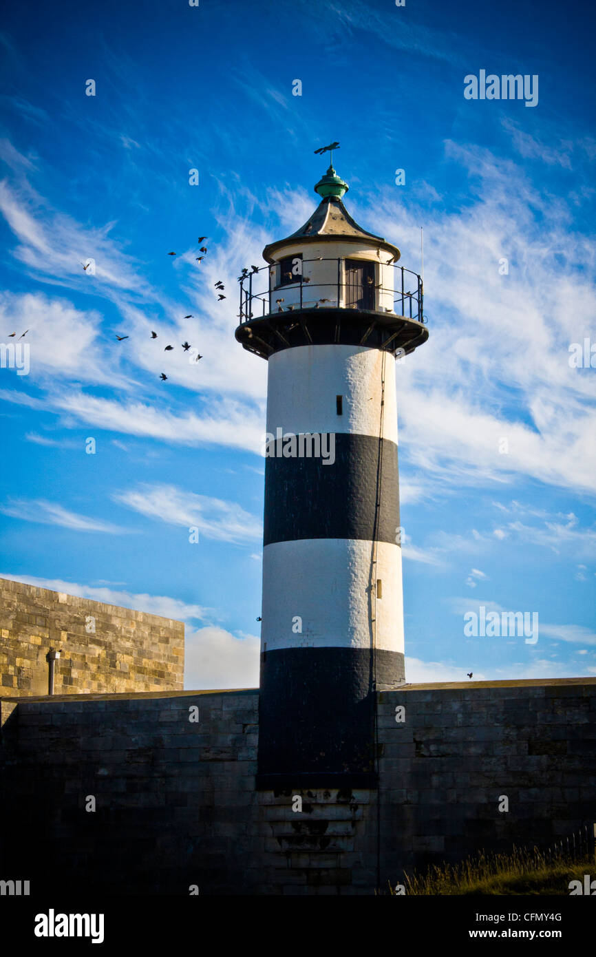 The lighthouse on Southsea Castle in Portsmouth - Stock Image