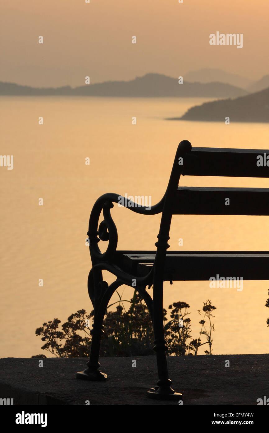 bench on the shore of the Adriatic Sea. Croatia, Dubrovnik - Stock Image