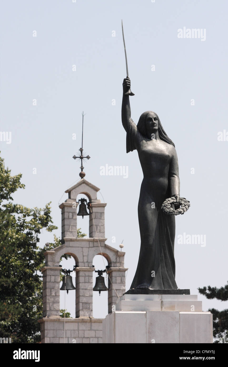 monument 'Lovchen soul Spirit' in the Cetinje city. Montenegro - Stock Image