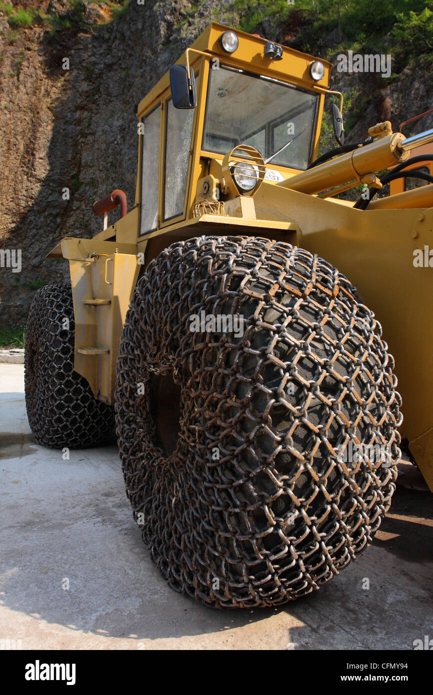 A tyre protection chain is a close mesh of high-alloy, hardened steel. Mratinje Dam - Stock Image