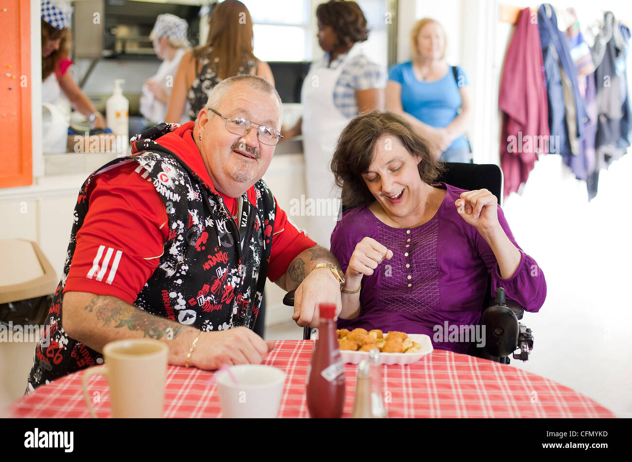 Lunchtime at Centre 81 - a skills and support centre for people with physical and sensory disabilities. - Stock Image