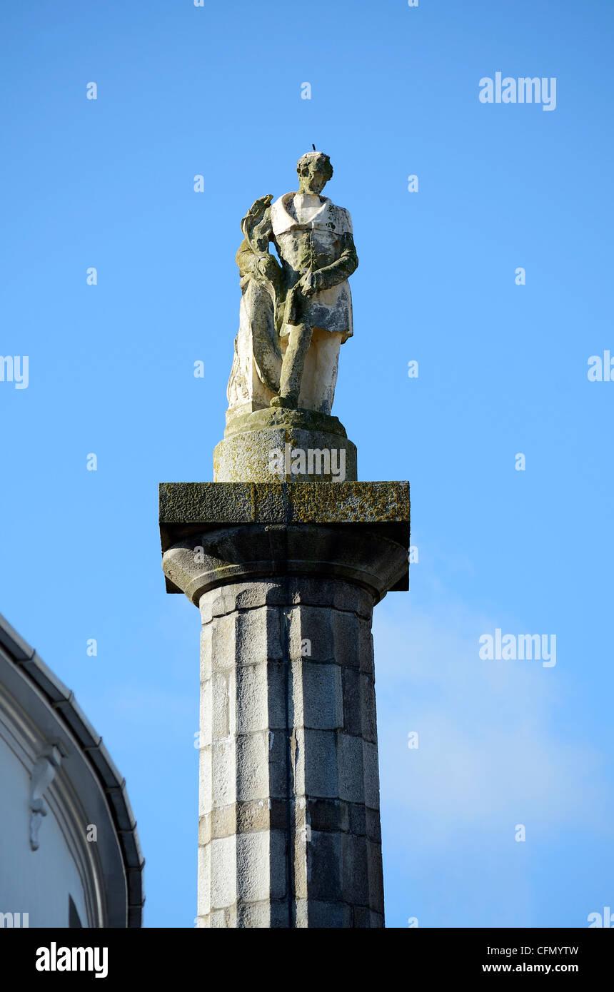 Statue of Richard Lander in Truro, Cornwall, UK - Stock Image
