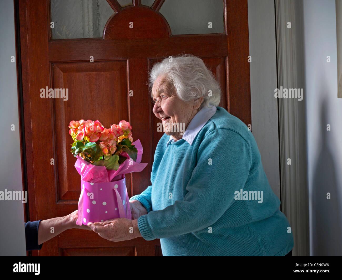 Flower Bouquet Delivery Door Happy Elderly Lady At Her Front Door