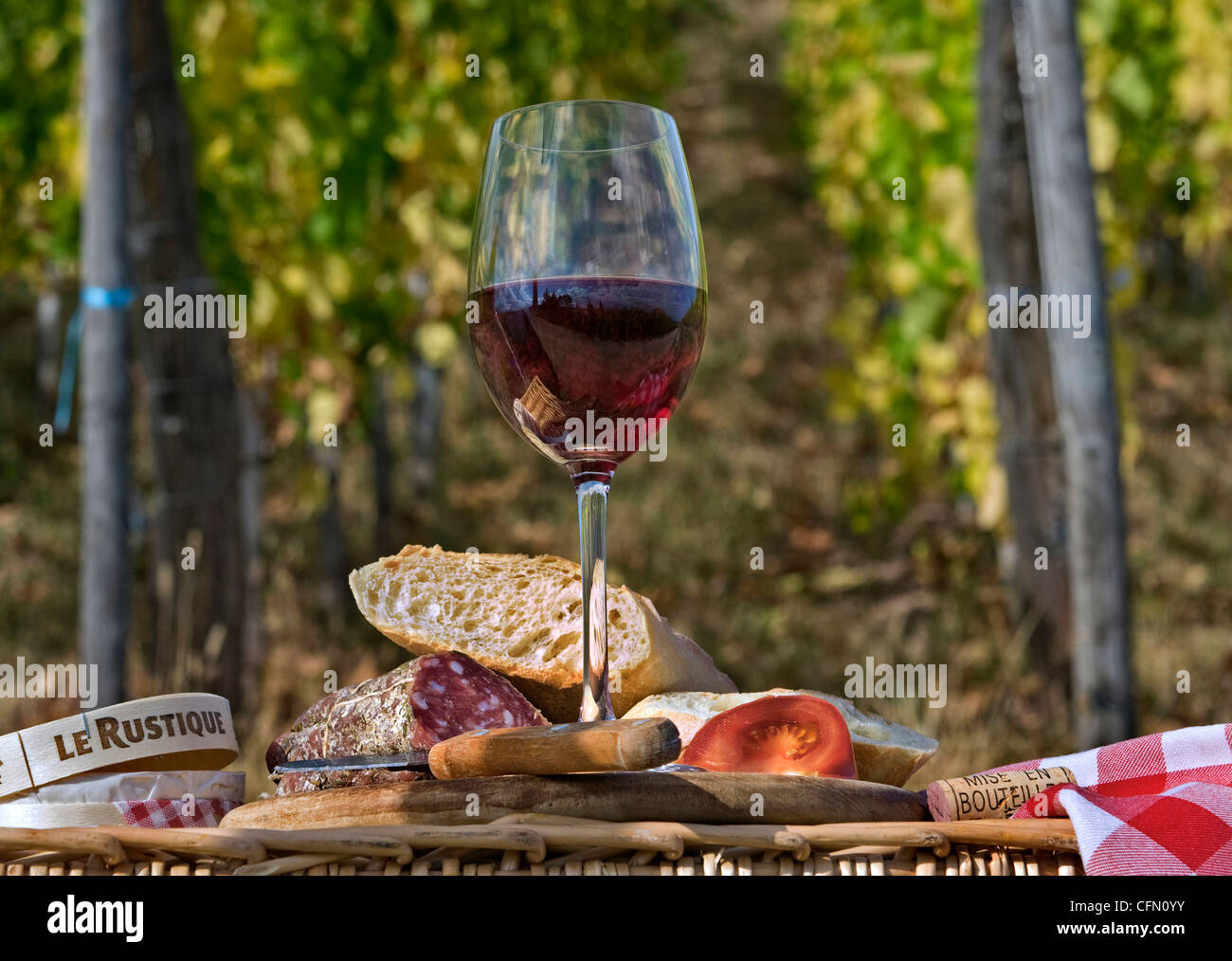 Typical French Rustic Picnic Lunch With Local Red Wine Bread Cheese And Saucisson In Vineyard France