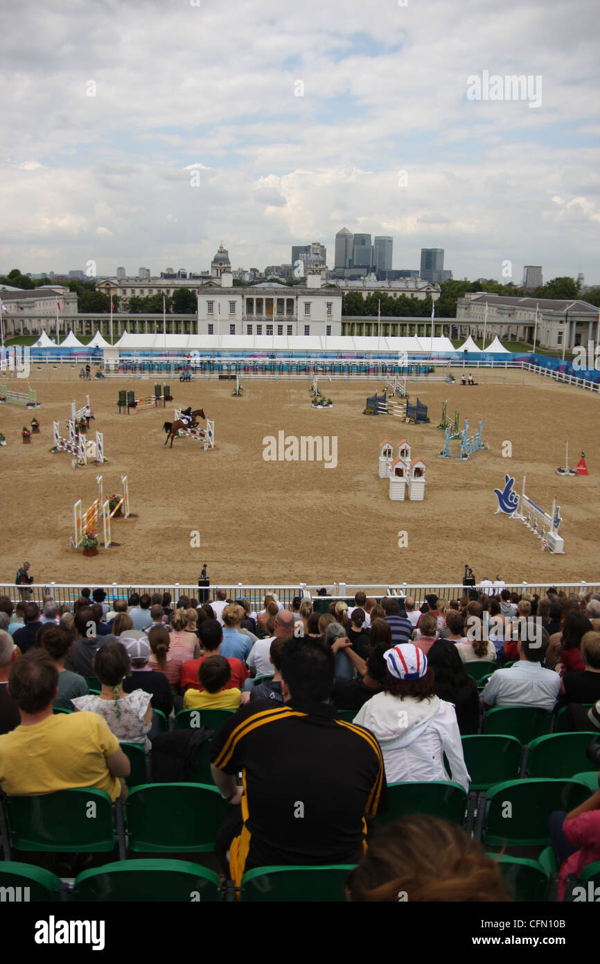 Show jumping at the womens modern pentathlon at Greenwich park as part of the London prepares series for 2012 - Stock Image