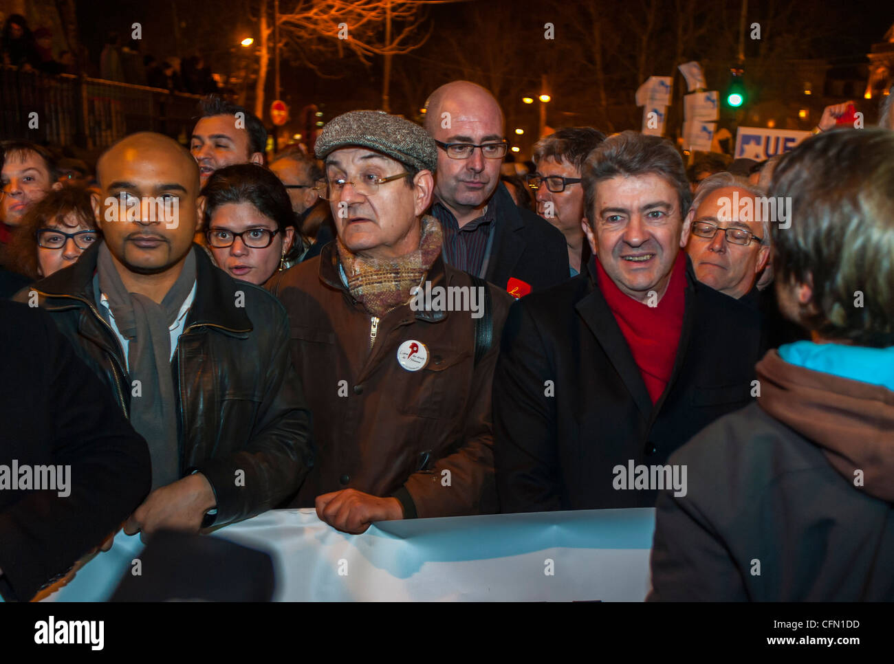Paris, France, Jewish People in Silent March, Protests, After Terrorist Attack Against a Jewish  in Toulouse, Jean - Stock Image