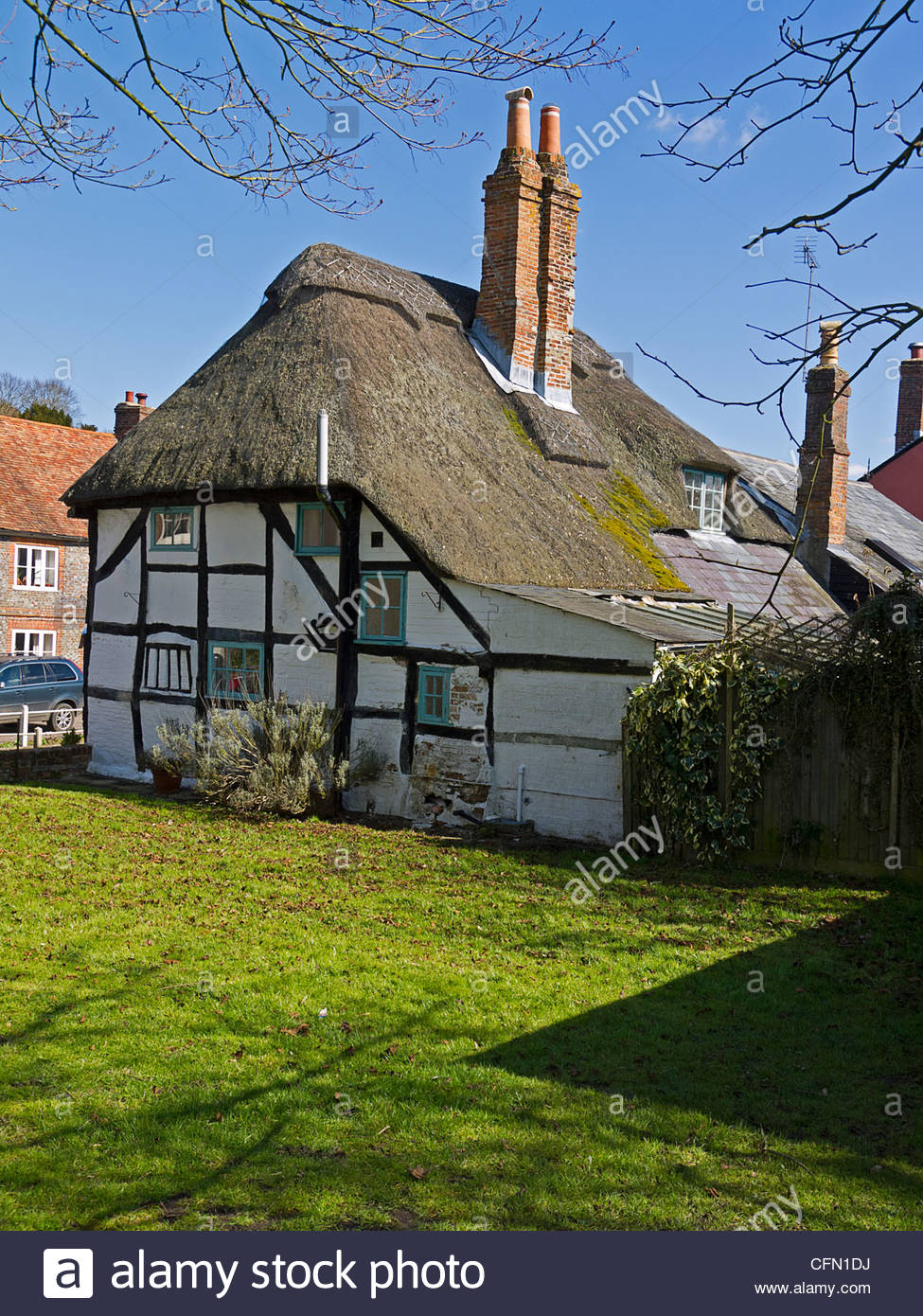 Old Thatched Cottage East Meon Hampshire England UK - Stock Image