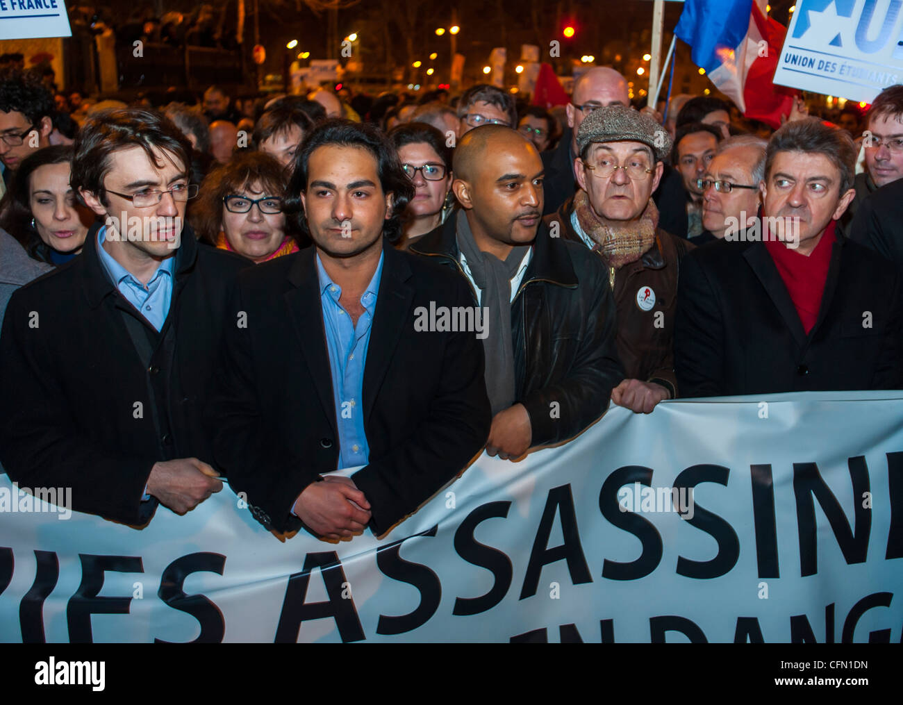 Paris, France, Large Crowd of French People in Silent March, Protests After Terrorist Attack Against a Jew Toulouse, - Stock Image