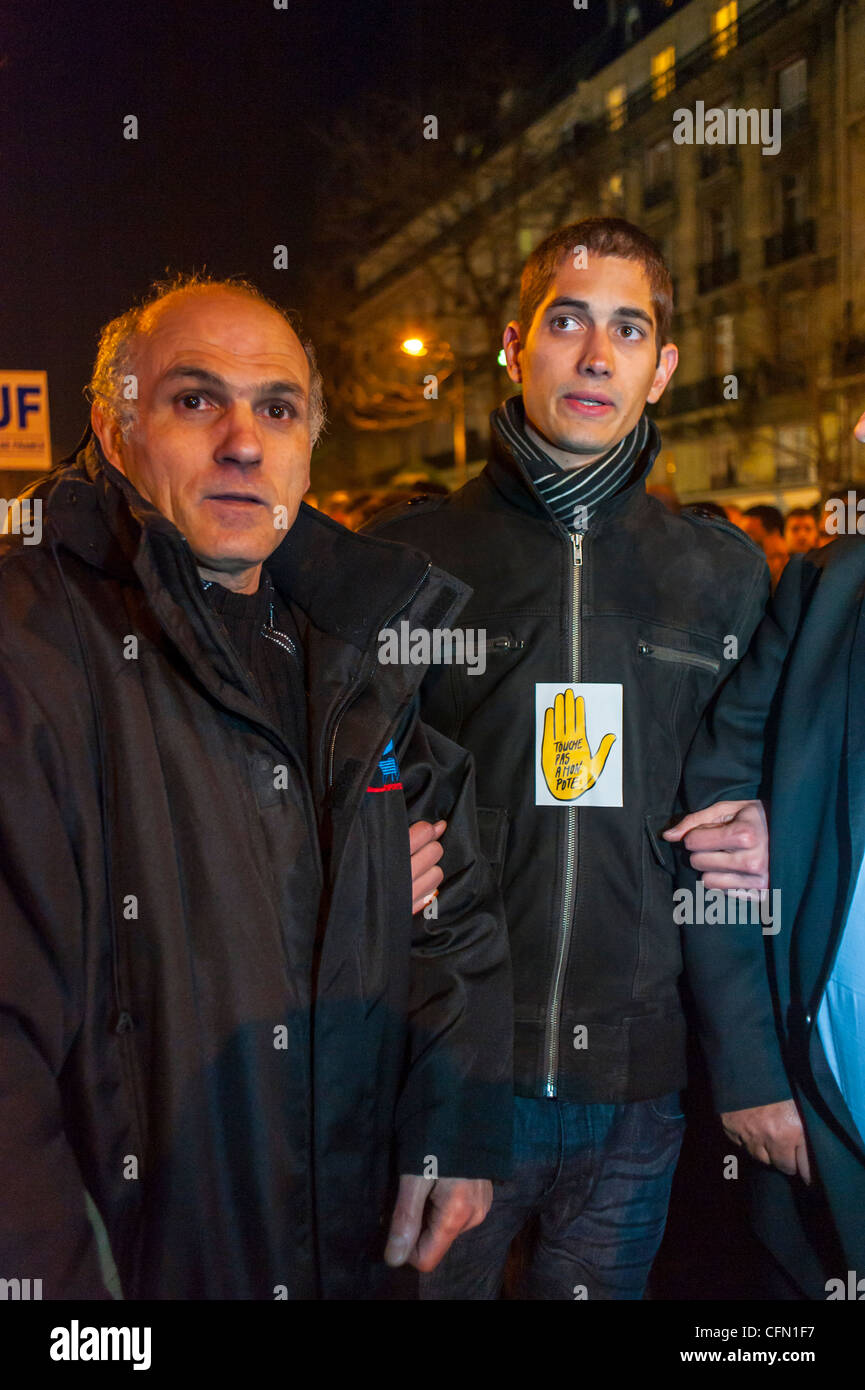 Paris, France, Jewish People, SOS Racism, in Silent March After Terrorist Attack Against a Jewish Scho-ol in Toulouse, - Stock Image