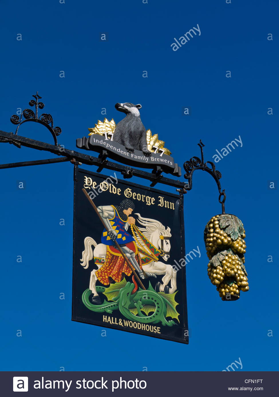 The Old George Inn Sign East Meon Hampshire England UK - Stock Image