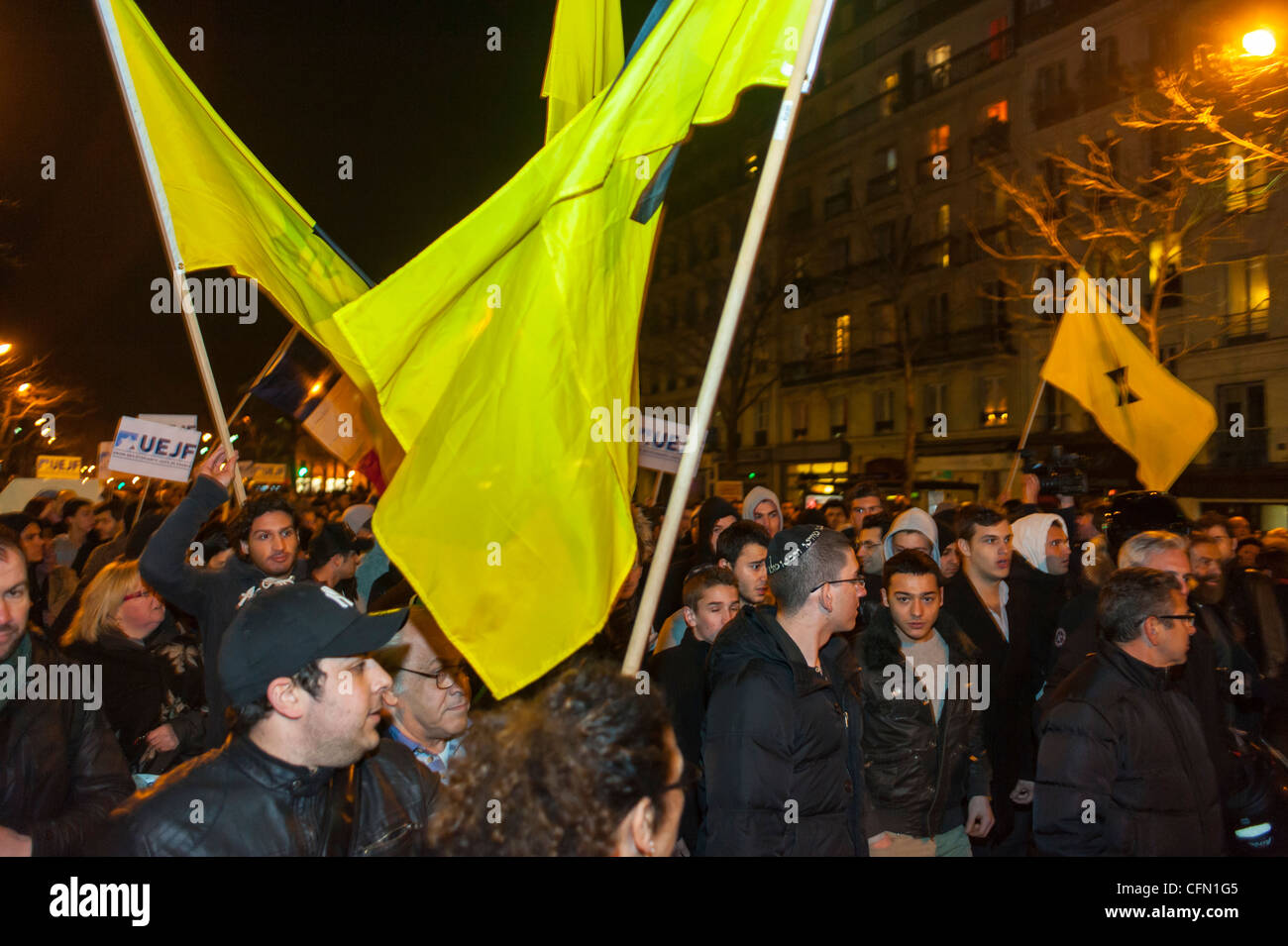 Paris, France, Jewish People in Silent March After Terrorist Attack Against a Jewish Scho-ol in Toulouse, J.D.L. - Stock Image
