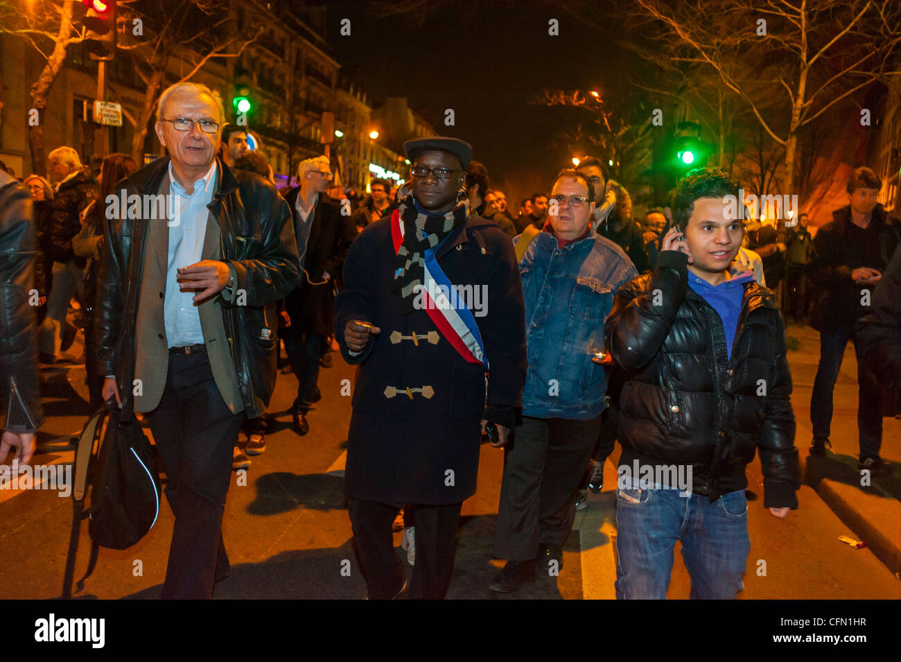 Paris, France, Crowd of Jewish People in Silent March, protests After Terrorist Attack Against a Jewish Scho-ol - Stock Image