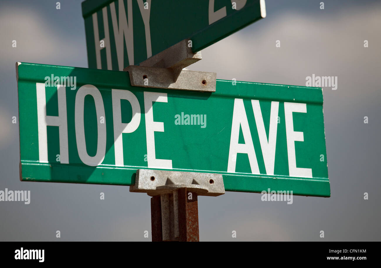 South Sioux City, Nebraska - Street sign for Hope Avenue. - Stock Image