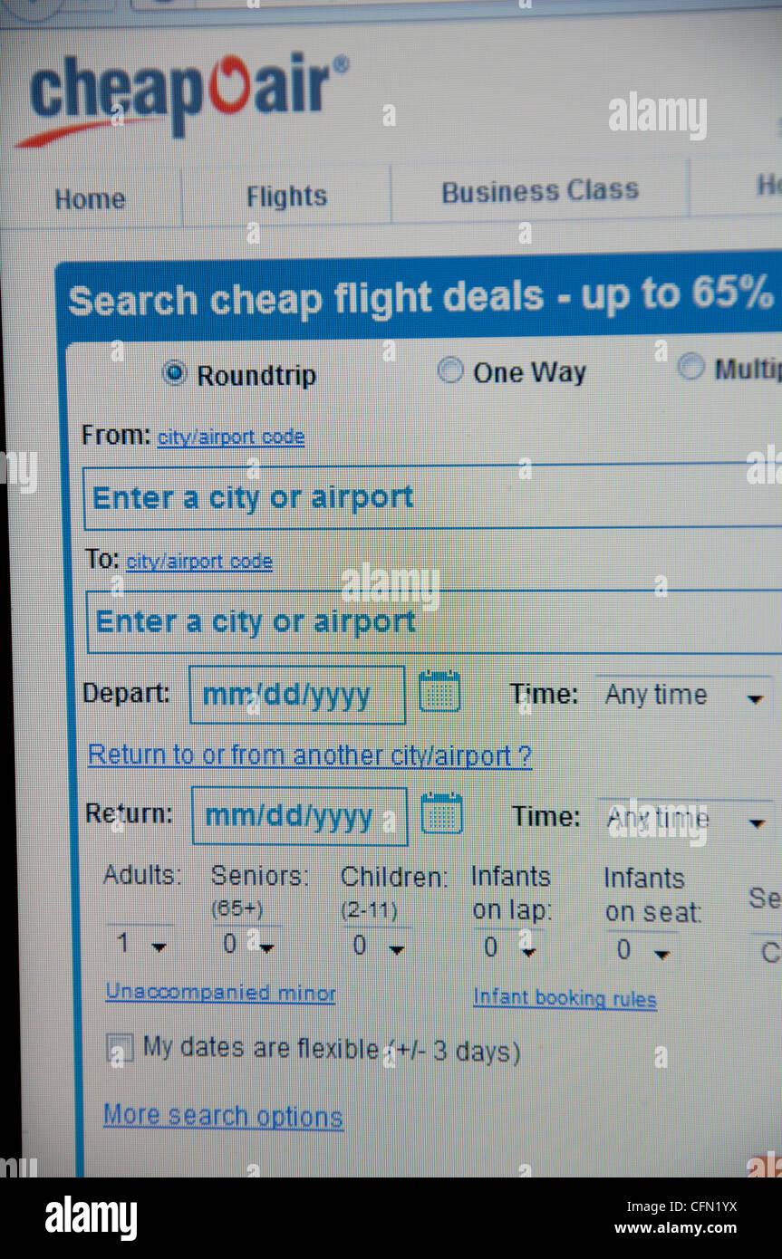 Cheap Air website screenshot - Stock Image