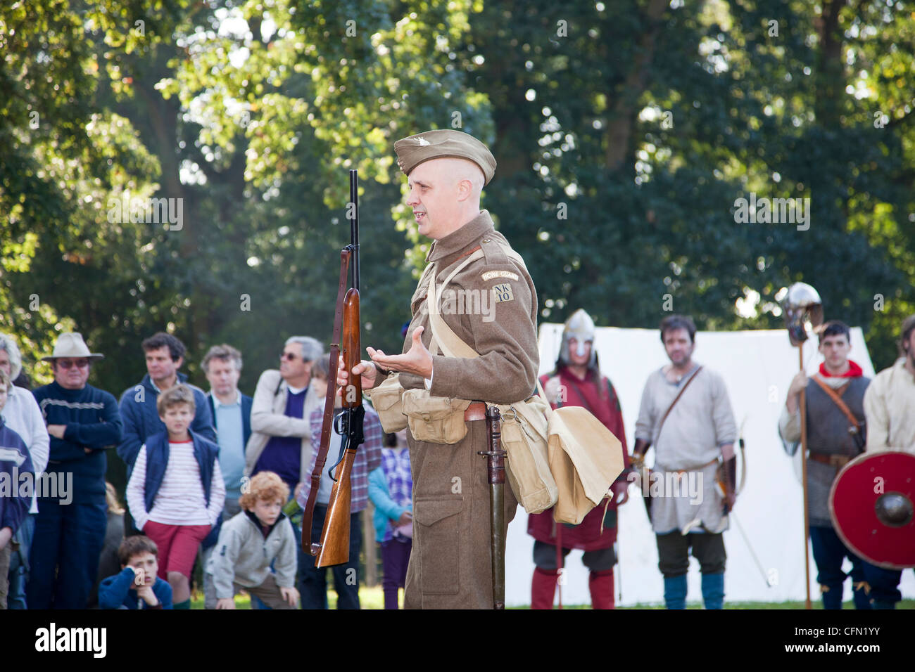 Demonstration Demonstration of a Henry Martini Shotgun used by British army in second world war - Stock Image